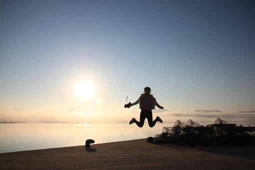 Jump, Sun, Sandal-island, Sea, Dawn