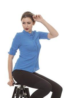 Model, Women's, Studio, Blue, Shirt, Fashion, Design