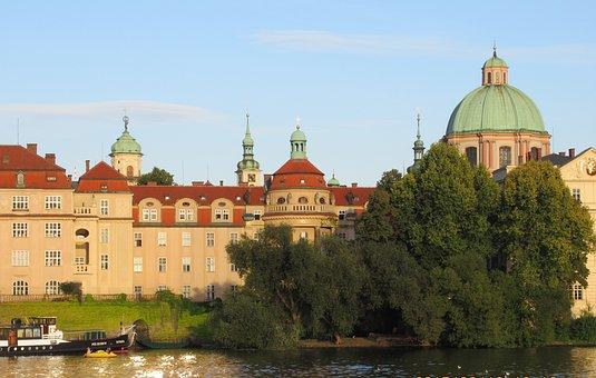Prague, Vltava, Domes, Towers