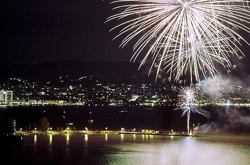 Firework, Lake, Hungary, Balaton, Nature, Reflection