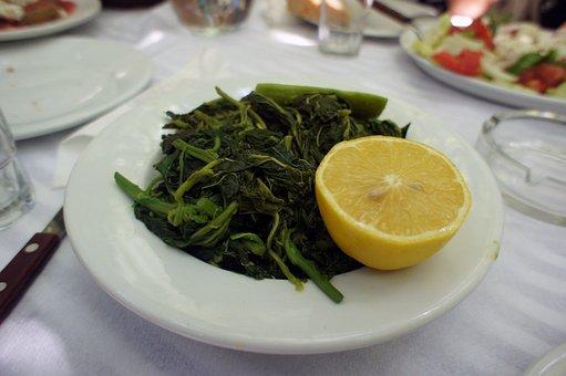 Greens, Dishes, Salad, Lemon, Food, Taste, Tasty, Table