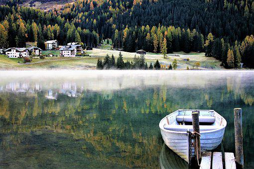 Lake, Boat, Morning, Haze, Cool, Autumn, Hard Rime