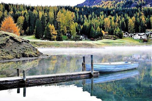 Morning, Bridge, Lake, Haze, Boat, Davos, Mood, Sunrise
