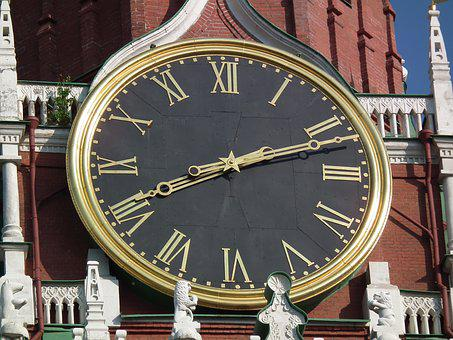 Clock, Clock Face, Kremlin, Moscow, Russia