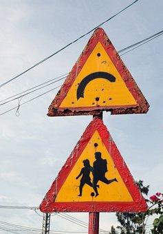Sign, Road, Kids, Pedestrian, Track, Street, City