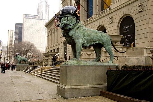 Chicago Bears 2007 Super Bowl, Statue, Lion