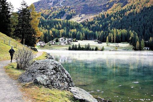 Running, Morning, Lake, Haze, Davos, The Path