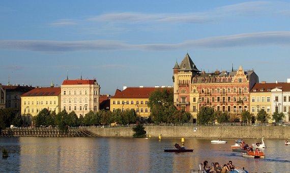 Prague, Vltava, Buildings, Boat