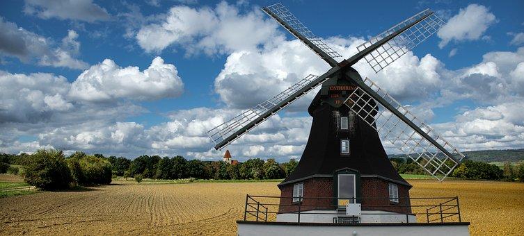 Mill, Windmill, Sky, Wing, Wind, Mediterranean, Blue