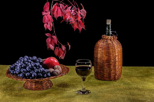 Wine, Grapes, A Bunch Of, A Glass Of Wine, Glass, Binge