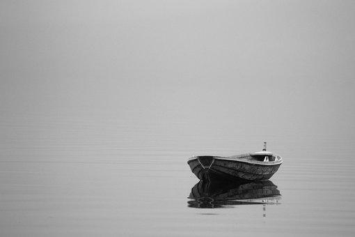 Boat, Minimalist, Alone, Single, Gray, Black And White