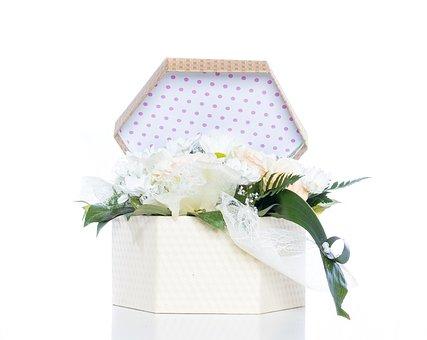 Wedding, Box, Flowers, Detail, Bouquet, White, Romantic