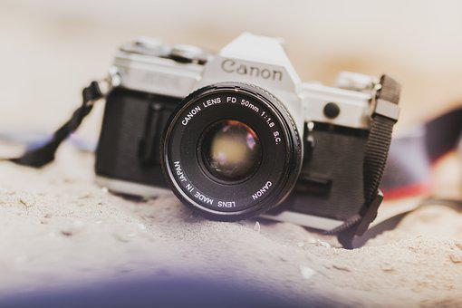 Camera, Analogue, Antique, Aperture, Beach, Canon