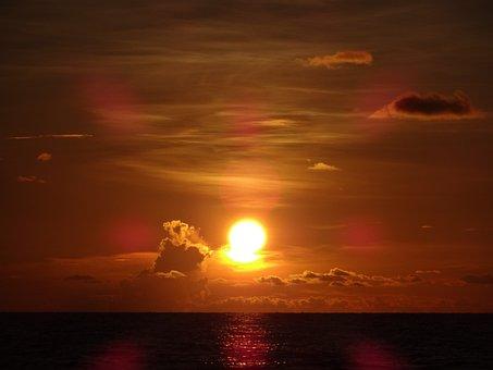 Sunset, Sun, Beach, Sea, Water, Light, Clouds, Nature