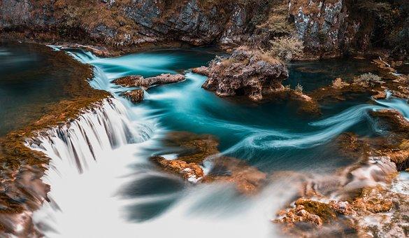 Creek, Fall, Landscape, Motion, Ocean, Outdoors