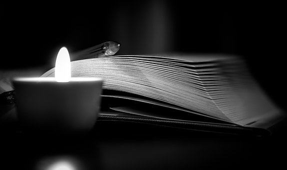 Book, Candle, Darkness, Mystery, Read