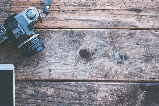 Apple, Device, Camera, Camera Lens, Desk, Hardwood