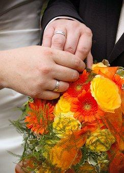 Bride, Groom, Couple, Rings, Flowers, Wedding, Happy
