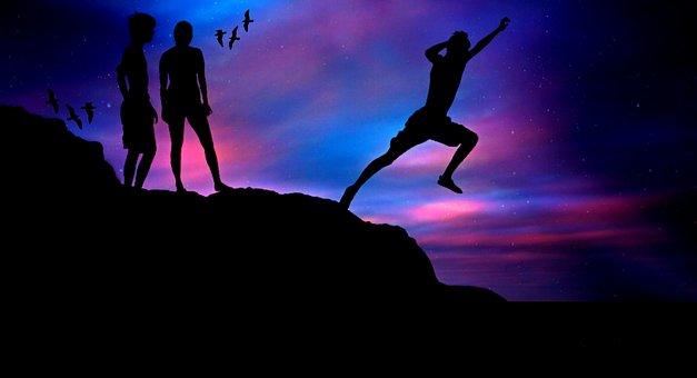 Boys, Human, Sea, Young, Jump, Sport, Sporty, Rock