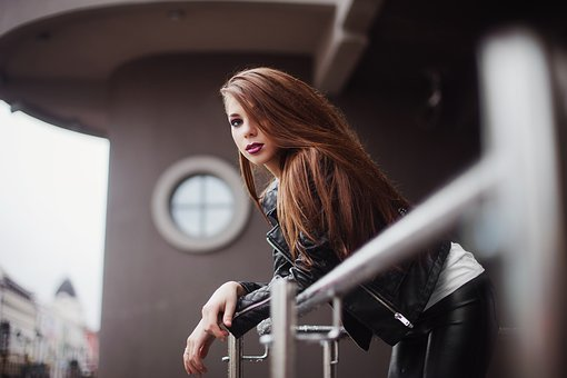Girl, Makeup, City, Modern Style, Leather, Lips, Youth