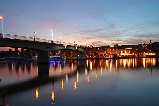 Remich, Mosel, River, Twilight, Blue Hour, Evening
