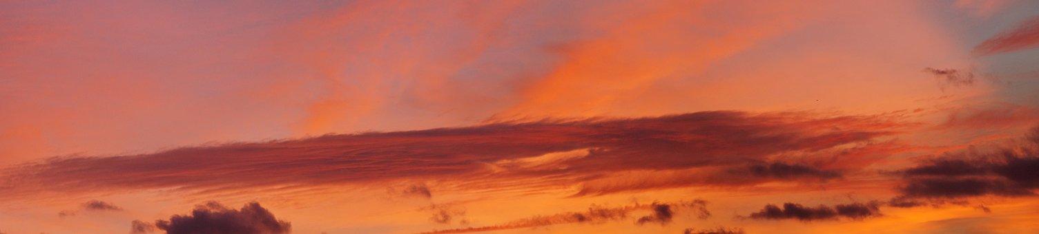 Cloud, Panorama, Afterglow, Sunset, Abendstimmung, Sky