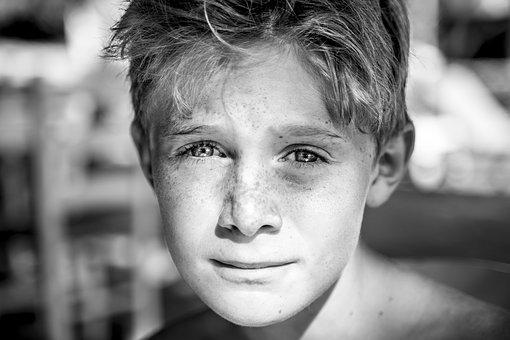Child, Freckles, Satisfied, Young, Unconcernedly