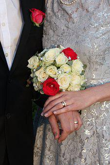 Bridal Bouquet, Red, Ros, White, Black Suit, Flowers