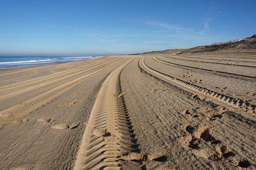 Empty Beach, Beach, Sea, Sand, Trace, Beach Sea