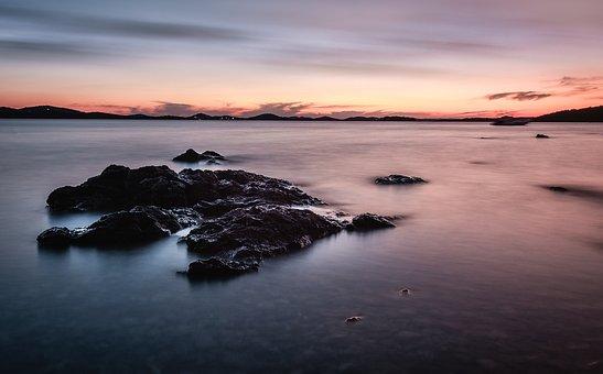 Blue Waters, Long Exposure, Sea, Rocks, Nature, Sky