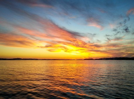 Sunset, Sea, Color, Water, Abendstimmung, Sunset Sea