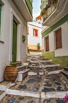 Greece, Skopelos, Chora, Village, Street, Alley, Stairs