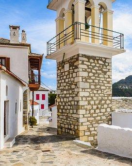 Greece, Skopelos, Chora, Village, Street, Alley, Belfry