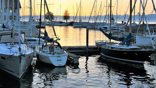 Morning, Marina, Water Surface, Lake, Bodensee, Glow