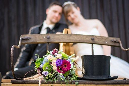Wedding, Cylinder, Bride And Groom, Marry