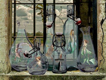 Mermaids, Bottles, Siren, Sea, Creatures, Aquarium