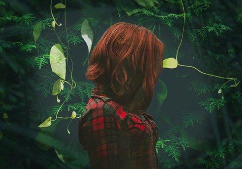 Green, Leaves, Bush, Hedge, Plant, Woman, Red, Shirt
