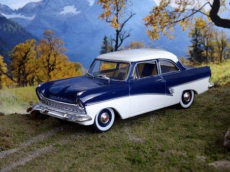 Model Car, Car Model, Ford 17m, Oldtimer, Toys, Model