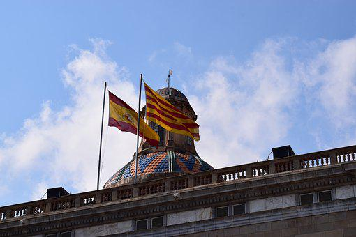 Sky, Flags, Spain, Catalonia, Tourism, Clouds