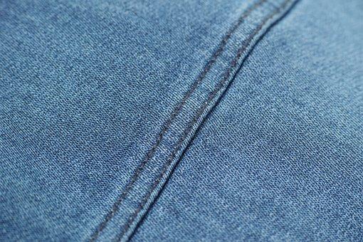 Blue, Denim, Sewing, Fabric, Textile, Macro, Detail