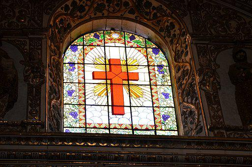 Cross, Stained Glass, Glass, Stained, Church, Religion