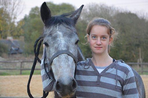 Girl, Young Woman, Horse, Complicity, Horseback Riding
