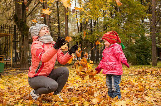 Kids, Girls, Leaves, Maple, Autumn, October, Yellow