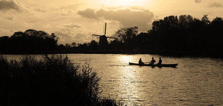 Water, River, Stream, Mill, Riekermolen, Rower, Rowers