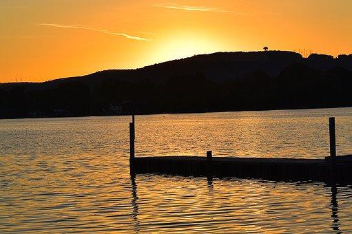 Sunset, Lake, Water, Dock, Nature, Sky, Landscape