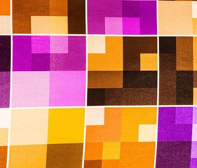 Yellow, Purple, Fabric, Pattern, Vivid Color, Weaving