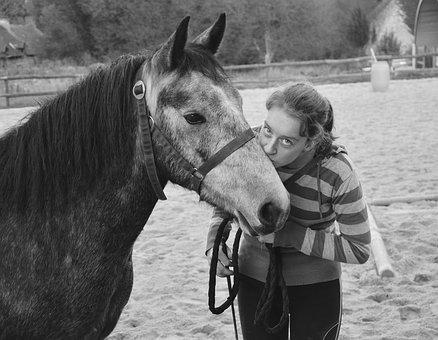 Kiss, Kisses, Photo Black White, Horse, Girl