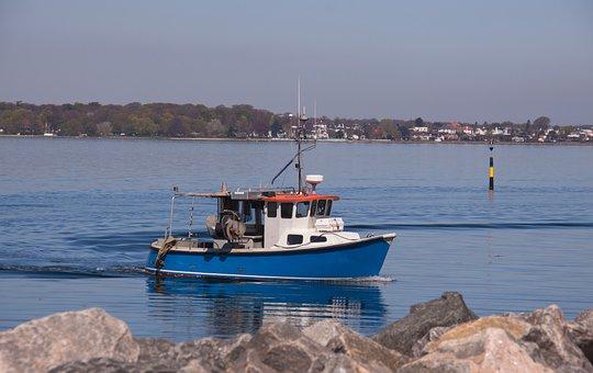 Fishing Boat, Sea, Turning, Rotation, Pier, Port