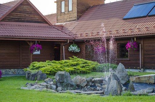 Fountain, Garden, Summer, Flowers, Poland, Rest, Nature