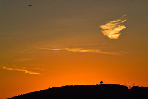 Sunset, Mountain, Cloud, Water Tower, Silhouette, Sky